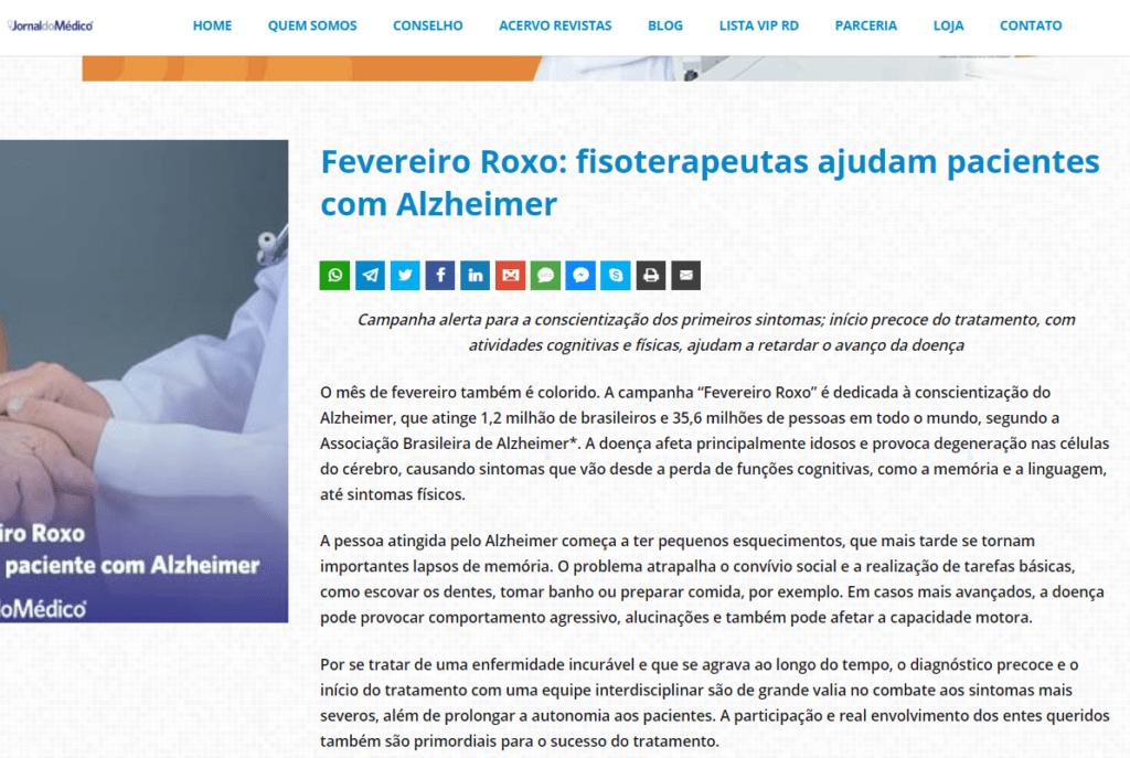 Fevereiro Roxo: fisoterapeutas ajudam pacientes com Alzheimer
