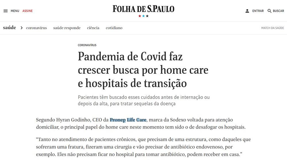 inserção no jornal Folha de S. Paulo