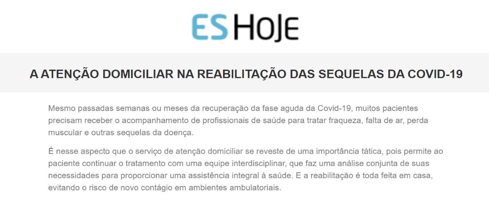 Inserção na imprensa, portal do jornal ES Hoje