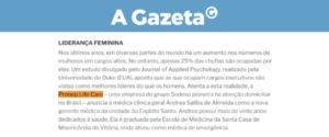 Liderança Feminina é o tema de nota, publicada no portal do jornal A Gazeta