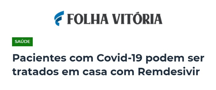 Inserção no site Folha Vitória sobre o primeiro antiviral aprovado no brasil